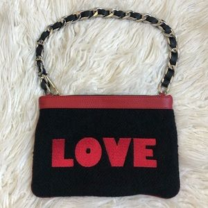 Mim & Ray Bags - Mim & Ray Red Leather Wool Nayelli Love Pouchette